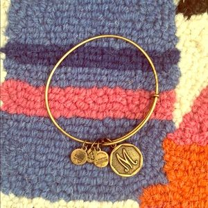 Alex and Ani gold bracelet M monogram